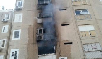 14 اصابة جراء استنشاق الدخان في حريق في مدينة ديمونة