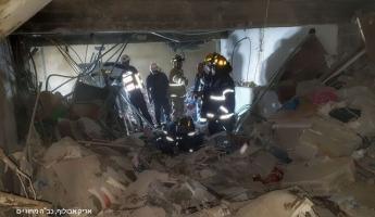 قتيل وثلاث اصابات في انفجار غاز وانهيار في كراج ومبنى سكني في شارع دان في القدس