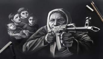 لوحة من رسم الفنانة التشكيلية بنت السويداء خولة...