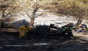 مجدل شمس : حريق سيارة وبداخلها جثة على ما يبدو لاحد سكان مجدل شمس