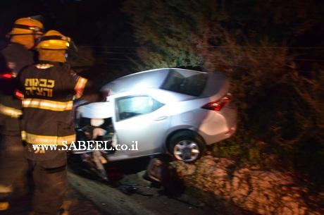 حادث طرق مروع على مفرق عنبار بالقرب من المدخل الشمالي للمغار ومصرع طفل في الحادث