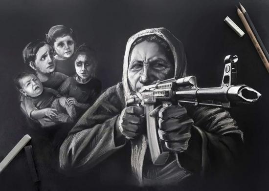 لوحة من رسم الفنانة التشكيلية بنت...