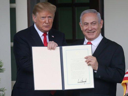 بنيامين نتانياهو يشيد بقرار ترامب وتوقيعه على الاعتراف بسيادة اسرائيل على الجولان السوري المحتل