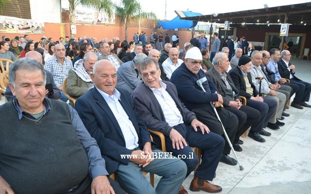 مساندة ودعم قويين لمرشح الجبهة جابر عساقلة في اجتماع حاشد لتحالف الجبهة والعربية للتغيير في منتزه النخيل في المغار